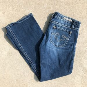 Rerock for Express Distressed Wash Boot Cut Jeans
